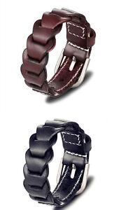 Mens Women 100% Genuine Leather Bracelet Black Brown Adjustable Handmade