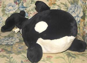 "Sea World Shamu Plush Large 20"" Orca Killer Whale PLUSH STUFFED ANIMAL FISH TOY"