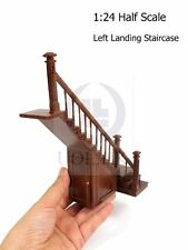 Dollhouse 1:24 Scale Left Landing Staircase With Stock Room [Finished In Walnut]