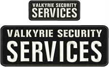VALKYRIE SECURITY SERVICES EMB PATCH 4X11 & 2X5 HOOK ON BACK BLK/WHITE