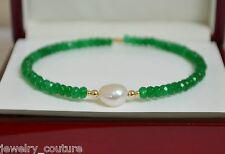 NATURAL Green EMERALD/SOUTH SEA PEARL Faceted Bangle Bracelet 14K Yellow Gold
