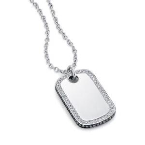 Diamond Dog Tag Necklace 14K White Gold Black White Pendant Round Cut Natural