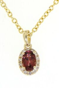 0.53CT Garnet Gemstone 14K Yellow Gold Real Halo Diamond Oval Pendant Jewelry