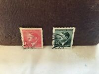 Third Reich july 1942 Hitler 50 Green 1.20 Red Bohemia and Moravia Stamps