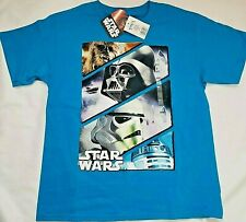 Disney Star Wars Shirt Kids Child Size Medium 10 / 12 Blue Chewy Darth C3PO