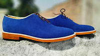 Mens Handmade Shoes Royal Blue Suede Lace Up Formal Dress Casual Wear Boots New