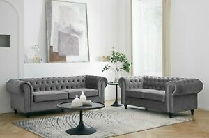 Velvet Fabric Chesterfield Style Sofa 2 or 3 Seater Modern Couch Suite Set