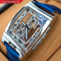 Mens Bridge Manual Mechanical Watch - Silver Case Blue Leather DIASTERIA 1688W
