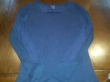 Lucky Brand Lace Live In Love Long Sleeve Fashion Shirt Sexy Pattern (Large) EUC