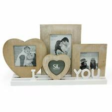 Rustic Wooden I Love You Heart Photo Picture Frames On Tray Base PH2157