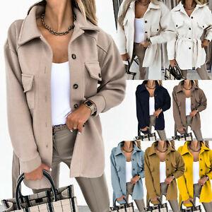 UK Womens Fleece Shacket Casual Jacket Tie Belt Top Shirt Coat Tunic Oversize