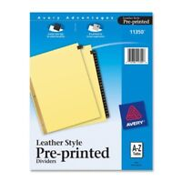 Avery A-z Gold Line Black Leather Tab Divider - Printeda - Z - 25 Tab[s]/set -