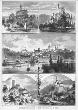 Neckartal-Ansichten, Wimpfen, Guttenberg,, Horneck.u.a. Original-Holzstich 1884