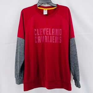 Cleveland Cavaliers Adidas Sweatshirt Mens Medium Red Grey Gray Polyester