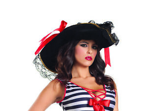 sexy BE WICKED pirate CAPTAIN hook SWASHBUCKLER wench BUCCANEER musketeer HAT