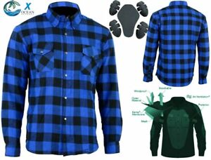 Men Biker Motorcycle Bike Cotton Flannel Shirt lined with Kevlar and CE Armoure