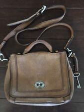FOSSIL Chestnut Leather Marlow Flap Crossbody PURSE Satchel, GORGEOUS, EUC