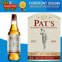Personalised Whiskey Bottle Label, Perfect Birthday Gift