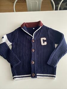 M&S Navy Shawl Collar Knitted Button Cardigan 5-6 Years. College-Style