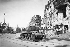 WWII B&W Photo Destroyed  Russian IS-2 Heavy Tank Germany 1945  WW2 / 3057
