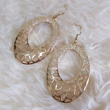 Fashion Womens Vintage Gold-Color Hollow Metal Pattern Ring Dangle Hook Earrings