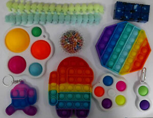 Pack Of 10 Fidget Toys Sensory Set Tools Bundle Hand Stress Relief Kids Adults