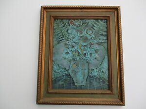 VINTAGE MODERNIST FLORAL PAINTING COLLAGE SCULPTURE EXPRESSIONISM ABSTRACT MOD