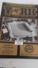 York V Fulham programma 12.3.89