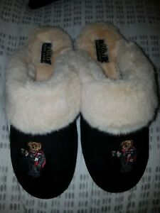 NEW RALPH faux shearling cocoa bear ladies slippers Size UK 6.5, new