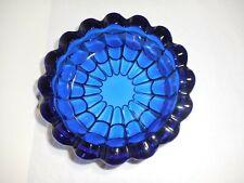 "Cobalt Blue Ashtray Trinket / Candy Dish Ribbed Scalloped Wavy  5 3/4"""
