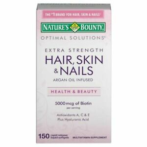 Nature's Bounty Optimal Solutions Hair Skin & Nails Extra Strength 150 Count
