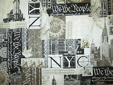 NYC NEW YORK CITY LANDMARKS STATUE OF LIBERTY STAMPS COTTON FABRIC BTHY