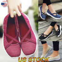 Women Sneakers Casual Soft Flat Tennis Trainers Slip On Pumps Athletic Gym Shoes