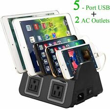 5 USB Ports Charging Station Organizer for Multiple Devices QC 2.0 Fast Charge