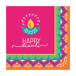 16 x Diwali Paper Party Beverage Canape Napkins 25 x 25 cm Opened