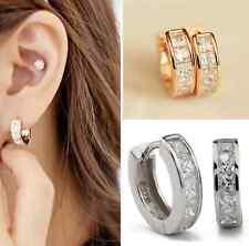 Women's Elegant Stainless Steel Rhinestone Crystal Hoop Studs Vintage  Earrings