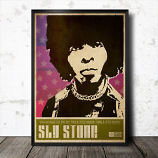 Sly Stone Art Poster Music Soul Funk James Brown 60's Funkadelic Psychedelic