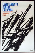 """1970 Original Cuban Movie Poster""""Samurai SWORDS""""Katana.Japan.Hiroshi Inasaki art"""