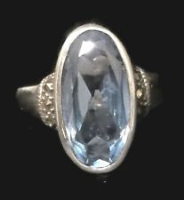 Vintage Blue Stone Marcasites Sterling Silver Ring Pinky Band Size 5.5 Girl