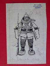 ORIGINAL Karikatur Entwurf 1.WK mit Stempel Bayr. Kriegsministerium  (8015
