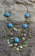 RW Collier Halskette orientalisch Neusilber Howlith blau Kuchi-Nomaden