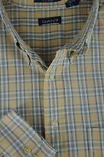 Gant Hombre Beige Gris & Blanco Newport Popelina Camisa de Algodón XL XL