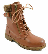 CHESTNUT WARRIOR-11S Women Lace Up Faux Leather Knit Cuff Combat Boot Size 9