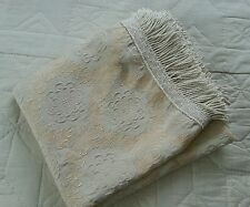 Vintage style heavy damask rich cream fringed single bed throw