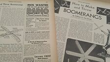 JAN 1931 MAGAZINE PAGE #SI31- HOW TO MAKE AND THROW BOOMERANGS- 2PGS