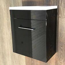 Black Wall Hung Vanity Unit + Basin - Compact Mini Gloss 400 Cloakroom Ensuite