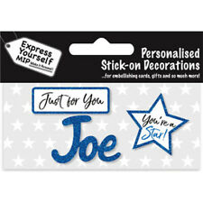 Express Yourself MIP Blue Name JOE Self Adhesive Male Name Card Making Craft
