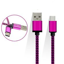 Pink Braided Micro USB Type C 3.1 Sync Charger Cable For Huawei Nova Plus Nova