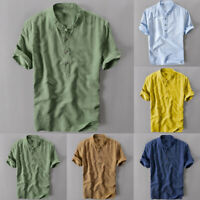 Summer Men's Breathable Blouse Pullovers Loose Fitted Cotton Shirts Tops