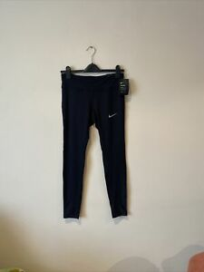 Nike Power M Medium UK 12-14 Dri-FIT Running Mid-Rise Black Mesh Tights Leggings